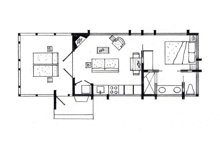 Escape a rustic retreat in canoe bay for Tiny house trailer floor plans