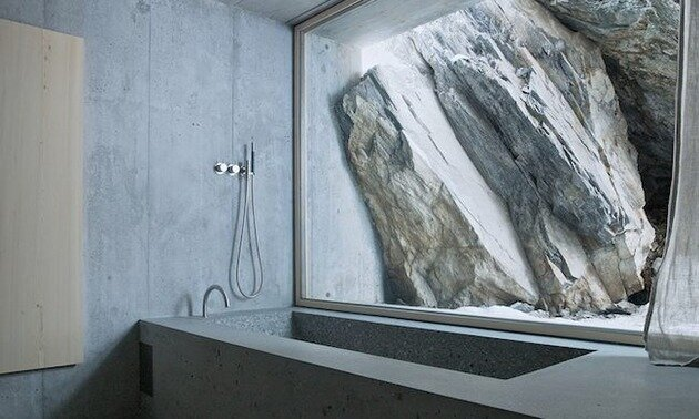 Swiss Alpine Cabin by Georg Nikisch and Selina Walder - Shower - Humble Homes