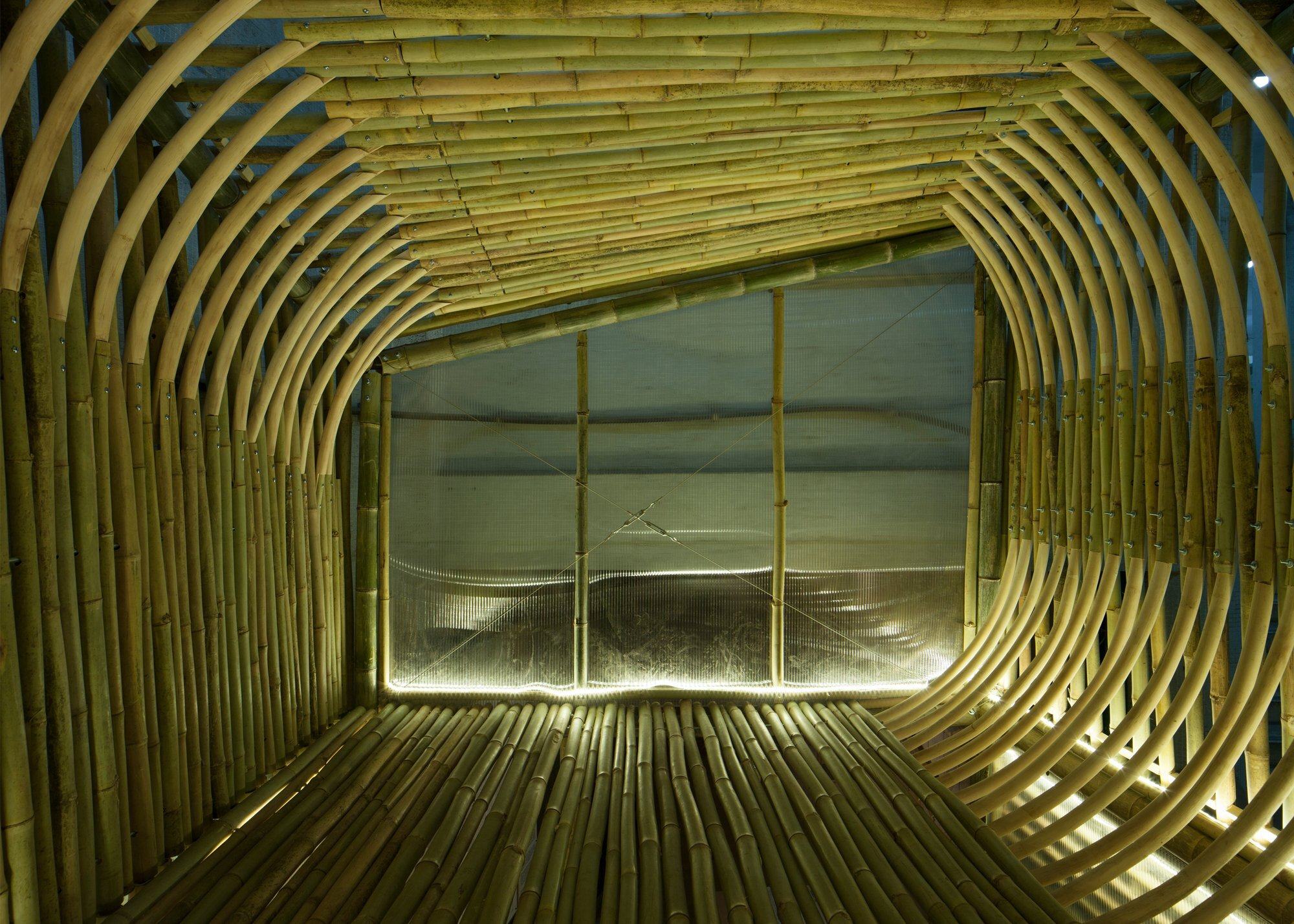 Bamboo Micro Houses Proposal - AFFECT-T - Micro House - Loft at Night- Humble Homes
