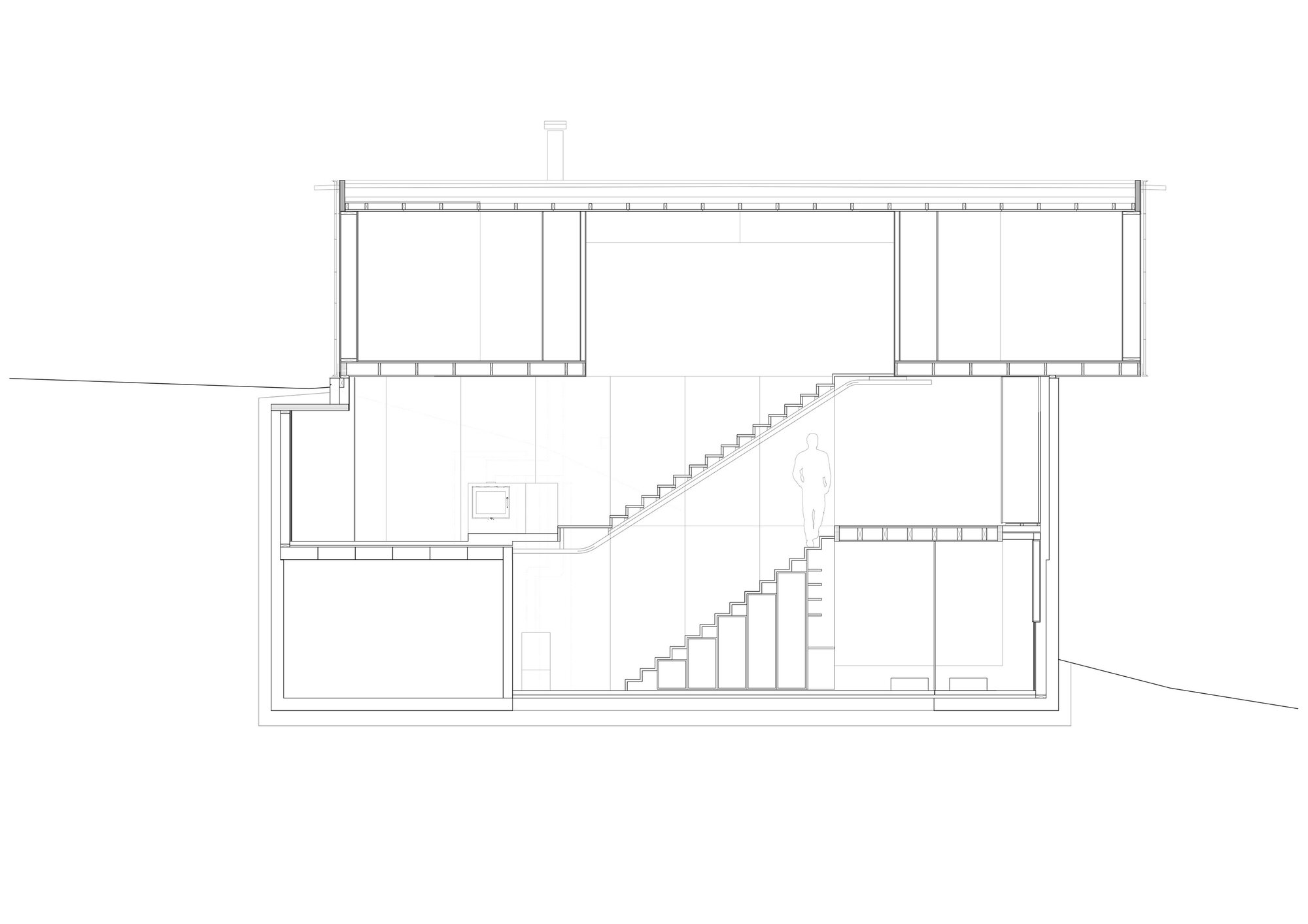 House Sømme in Norway by Knut Hjeltnes - Small House Oslo - Cross Section - Humble Homes