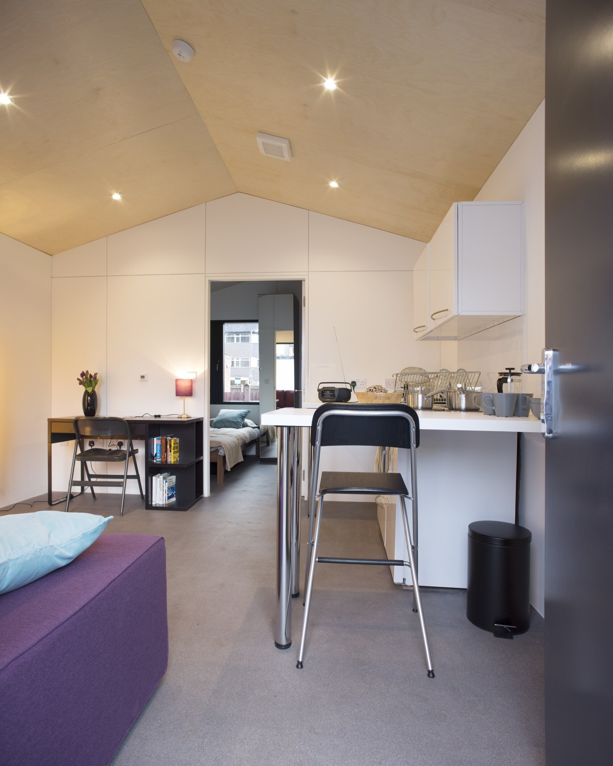 Richard Rogers - Pre-Fab Y-Cube - UK - Tiny House Kitchen & Living Area - Humble Homes