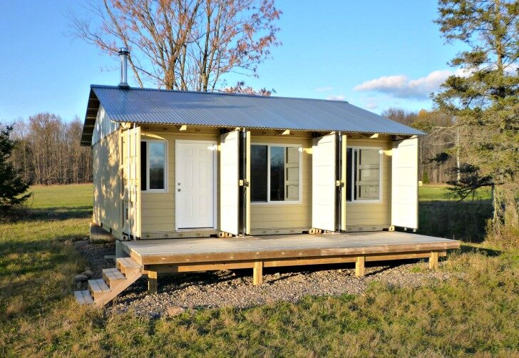 Small Shipping Container Homes tin can cabin - a shipping container home in wisconsin