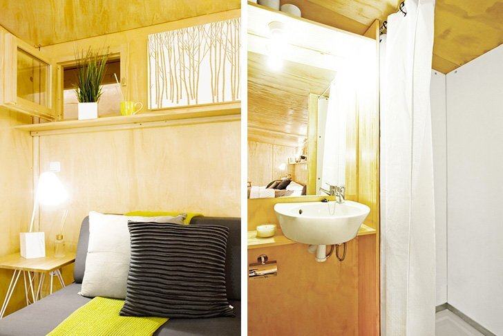 viVood - Prefab House by Daniel Mayo Pardo - Spain - Tiny House - Bathroom & Bedroom - Humble Homes