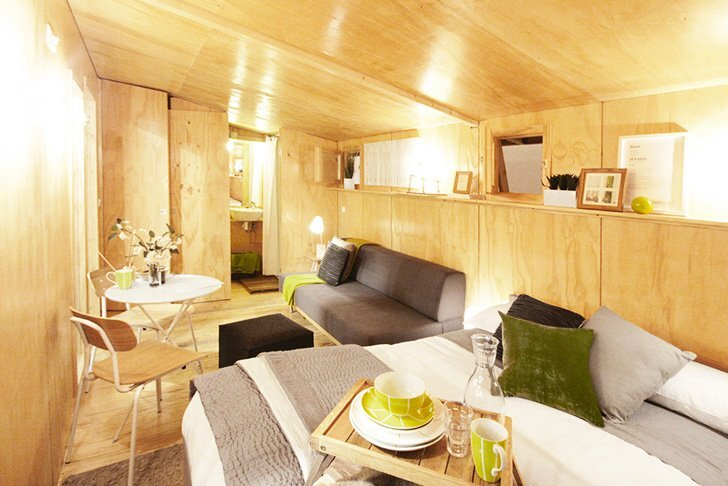 vivood prefab house by daniel mayo pardo spain tiny house living room - Prefab Tiny House