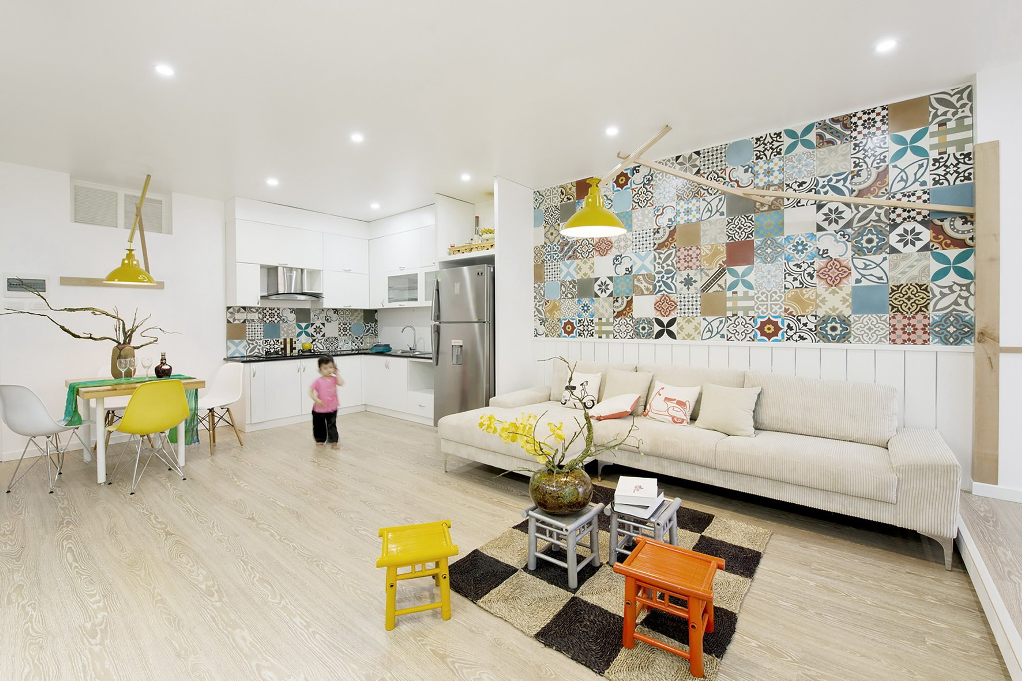 HT Apartment - Landmak Architect - Hanoi - Vietnam - Small Apartment - Living Room and Kitchen - Humble Homes