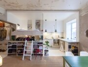 Karin Matz Renovates - HB6B Apartment - Stockholm Sweden - Tiny Apartment - Bedroom and Kitchen 2 - Humble Homes