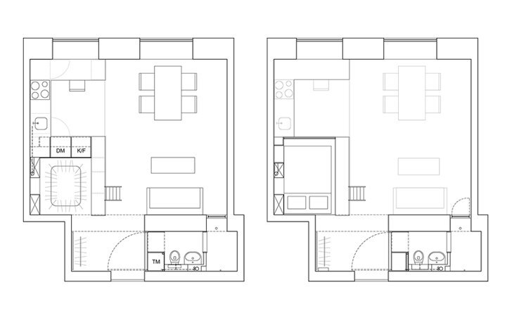 Karin Matz Renovates - HB6B Apartment - Stockholm Sweden - Tiny Apartment - Floor Plan - Humble Homes