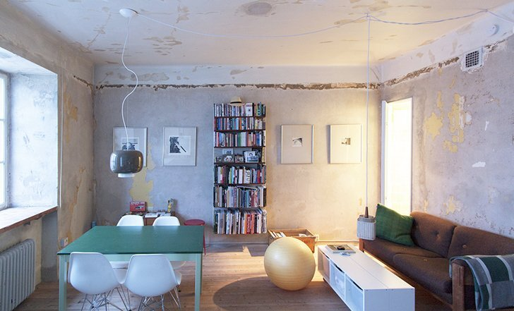 Karin Matz Renovates - HB6B Apartment - Stockholm Sweden - Tiny Apartment - Living and Dining Room - Humble Homes