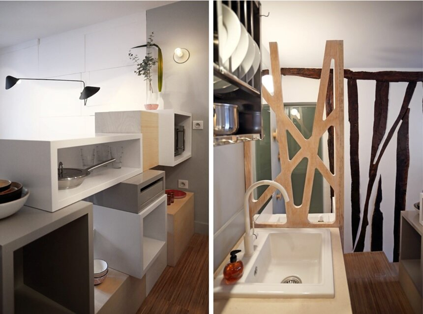 Parisian Tiny Apartment - Julie Nabucet Architecture - France - Kitchen - Humble Homes