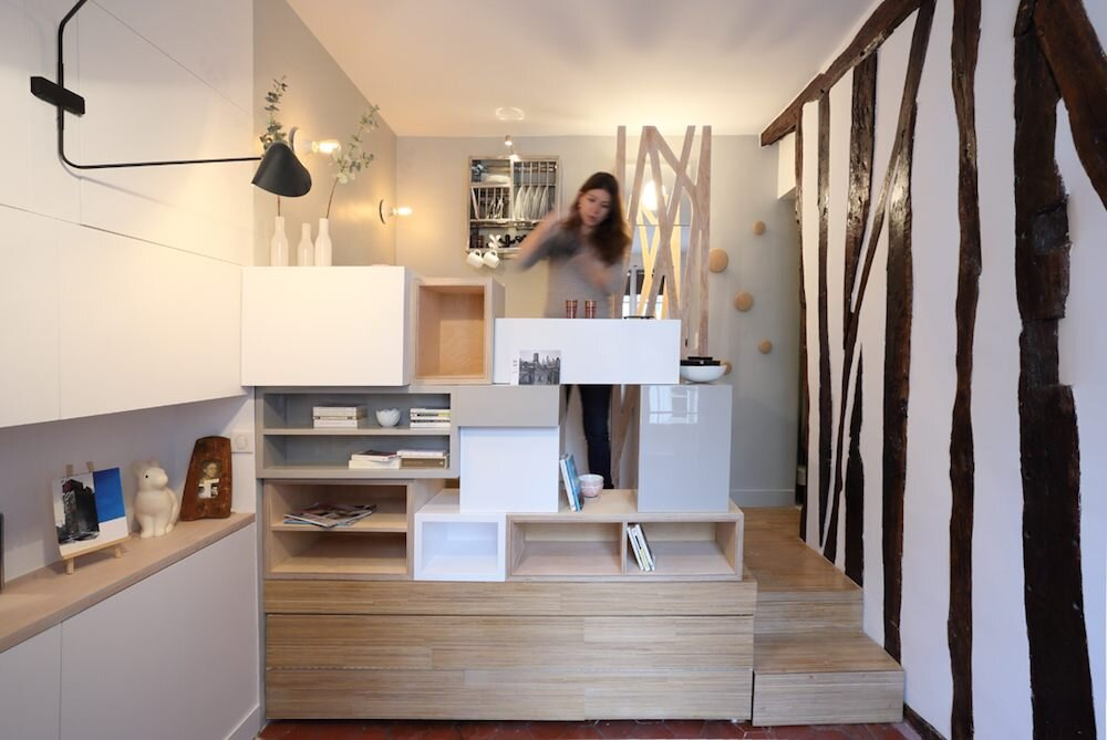 Parisian Tiny Apartment - Julie Nabucet Architecture - France - Living Area - Humble Homes