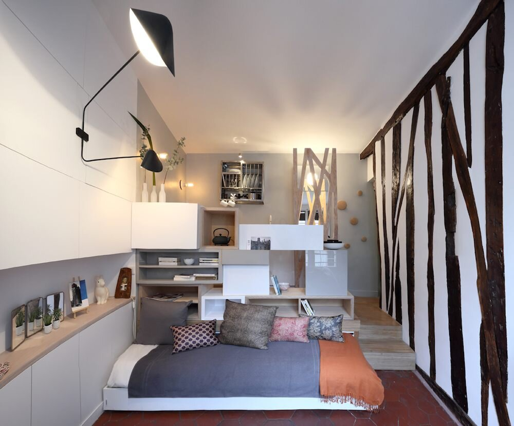 Parisian Tiny Apartment - Julie Nabucet Architecture - France - Pull-out Seating - Humble Homes