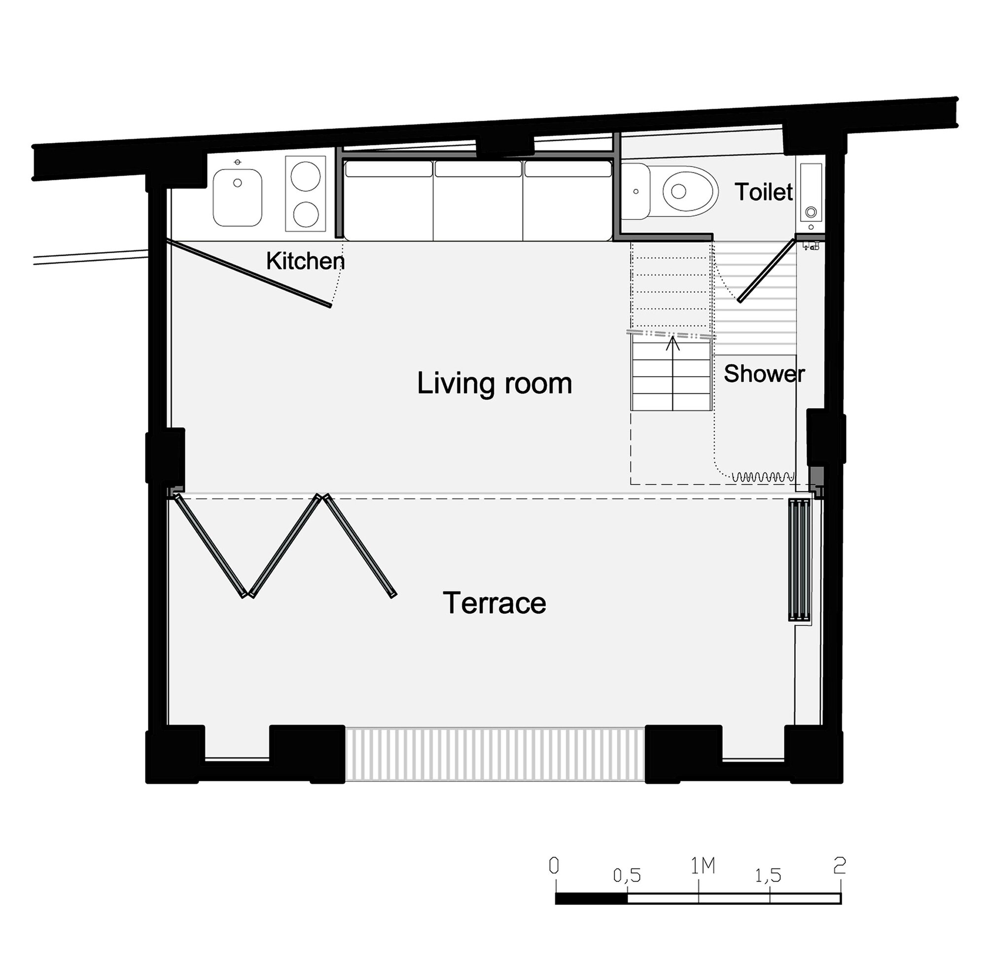 Pavillon d t from shack to modern guest house for Small shack plans
