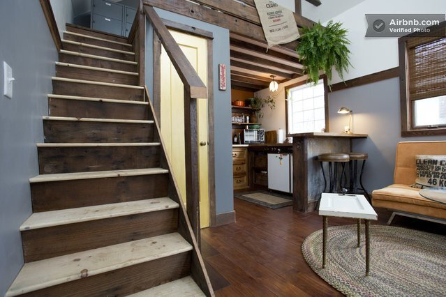 Rustic Tiny House - Portland - AirBnB - Staircase - Humble Homes