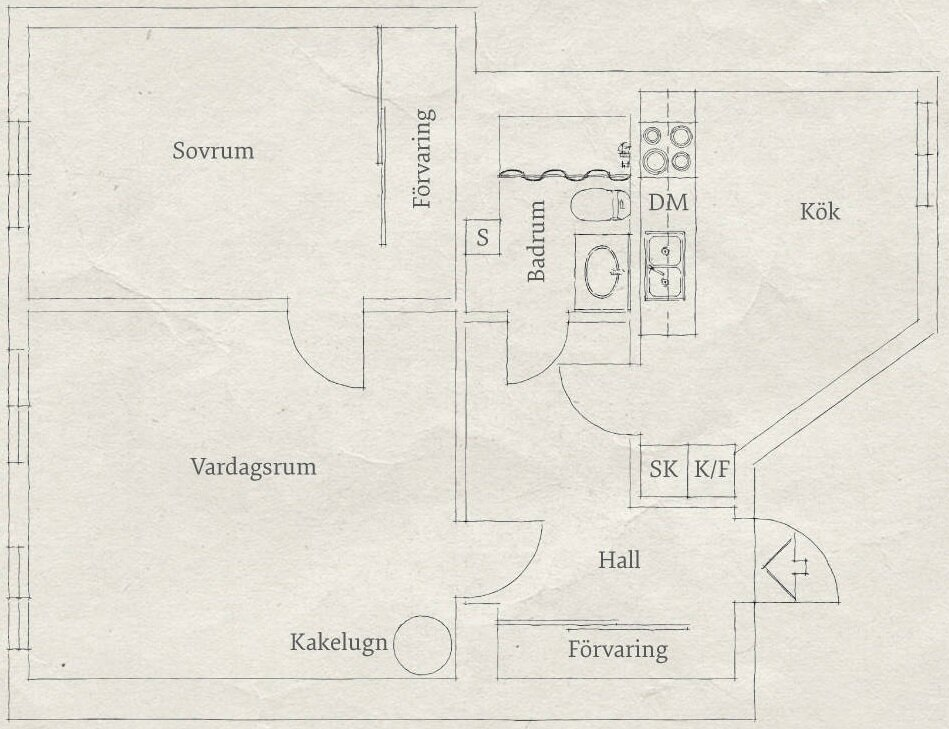 Small Apartment - Goteburg - Sweden - Stadhem - Floor Plan - Humble Homes