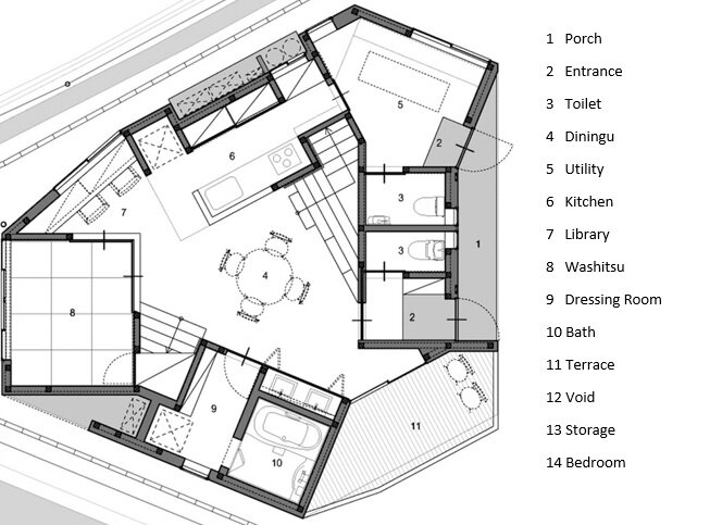 House In Iizuka - Japanese House - Rhythmdesign - Floor Plan - Humble Homes