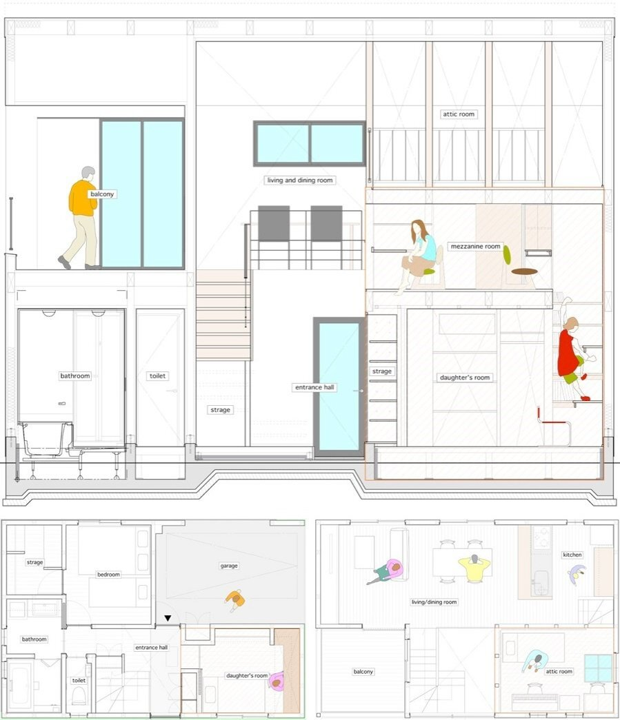 House in Musashisakai - Small House - Upsetters Architects - Tokyo - Japan - Cross-Section & Floor Plans - Humble Homes