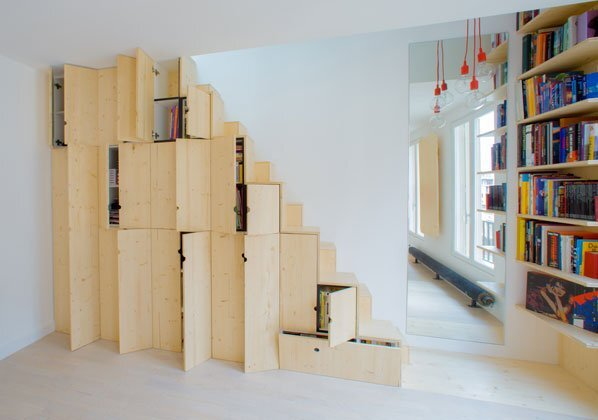 Micro Apartment - Paris - Shemaah - Alternating Tread Staircase - Humble Homes