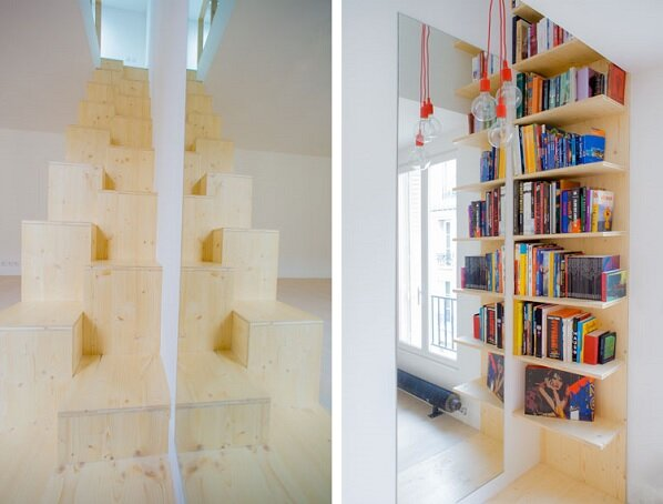 Micro Apartment - Paris - Shemaah - Staircase and Book Shelf - Humble Homes