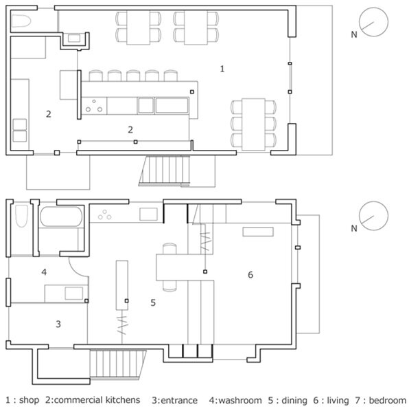 Higashihayashiguchi - Shop & Apartment - ALTS Design Office - Floor Plans - Humble Homes