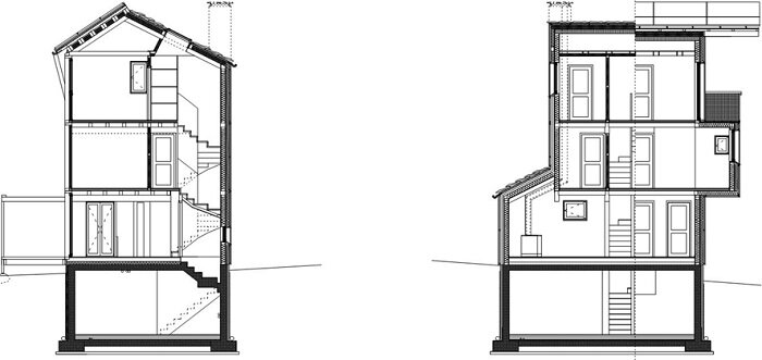 Solar House - Solar Powered Home - Studio Albori - Italy - Cross-Section - Humble Homes