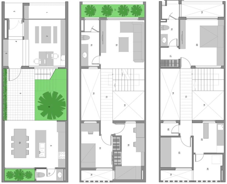 Small courtyard house floor plans for Apartment plans with courtyard