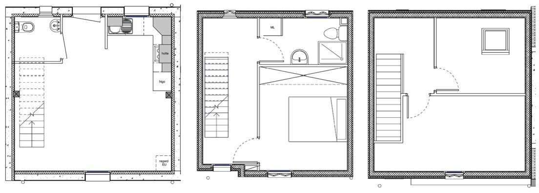 Rue Losserand - Small House - atelier 100architecture - France - Floor Plan - Humble Homes