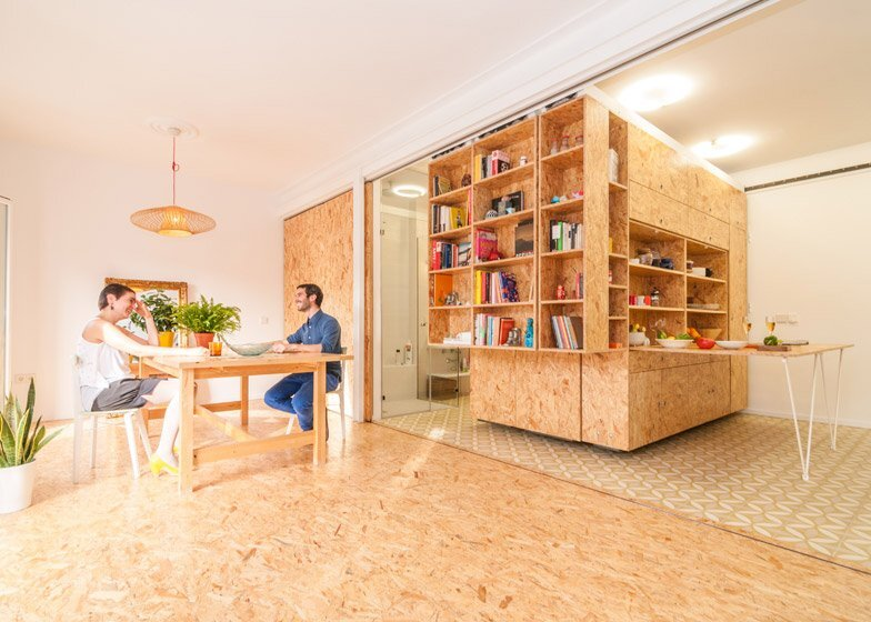 Small apartment doubles up on space with moving walls House with movable walls