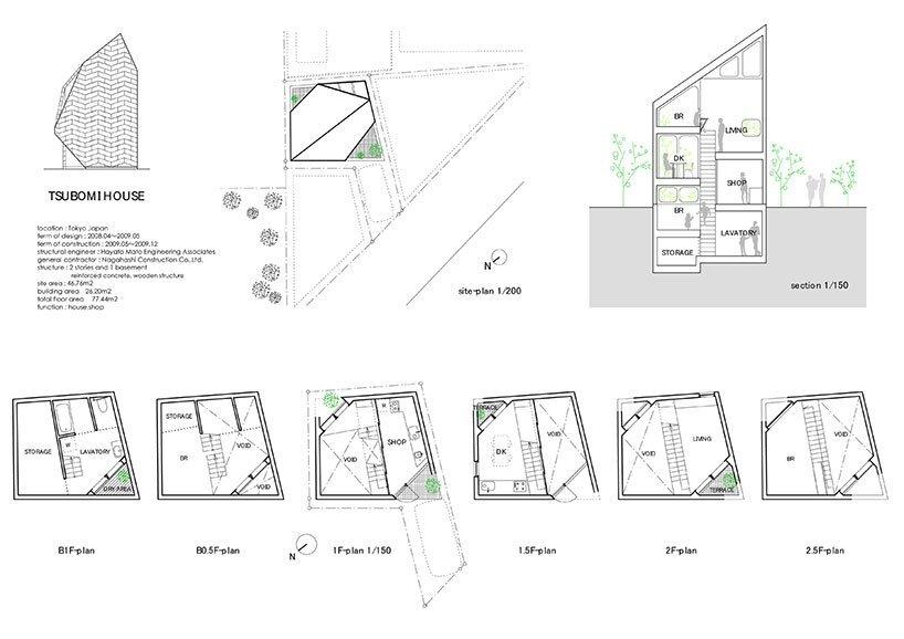 Bud House - Japanese House - Flat House - Tokyo - Floor Plans - Humble Homes