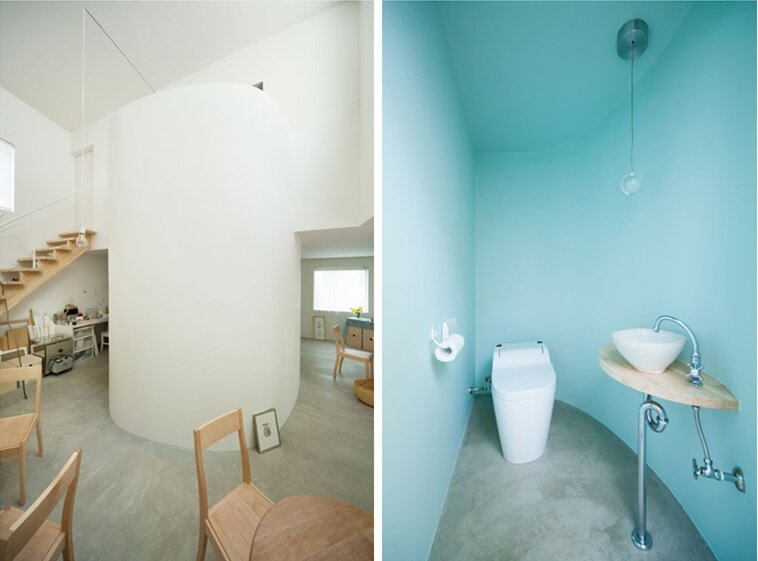 Oeuf - Multifunctional Home - Flat House - Tokyo - Staircase and Bathroom - Humble Homes