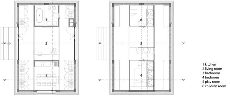 Compact Karst House - Small House - Dekleva Gregoric Arhitekti - Floor Plans - Humble Homes