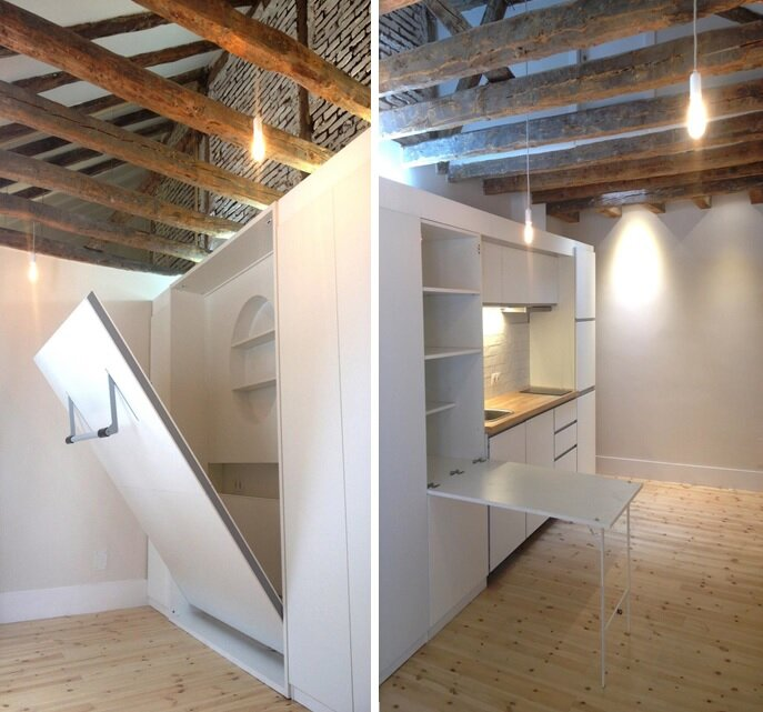 Micro Apartments - Enfoka - Lavapiés - Spain - Bedroom & Dining - Humble Homes