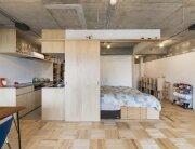 Tsukiji Room H - Yuichi Yoshida & associates - Tokyo - Bedroom and Kitchen - Humble Homes