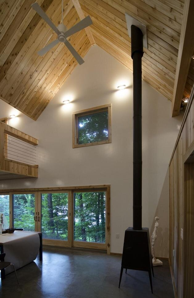 Lakeside Tiny House - Jeffery S.Poss Architect - George Lake - Wood Stove - Humble Homes