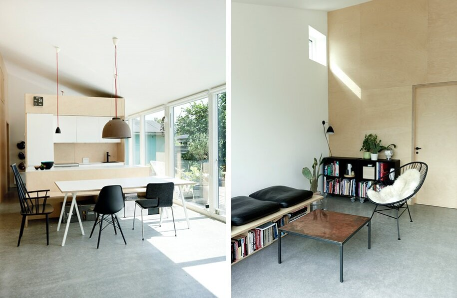 Low Cost Small House - Sigurd Larsen - Copenhagen - Kitchen and Living Room - Humble Homes