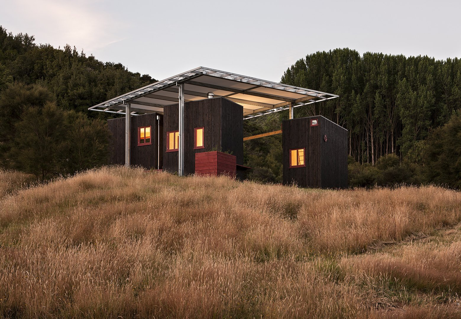 Longbush Ecosanctuary Welcome Shelter - Sarosh Mulla Design - New Zealand - Exterior - Humble Homes