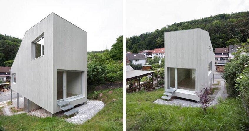 A tiny house with a folding roof by chris heininge for Small house design germany
