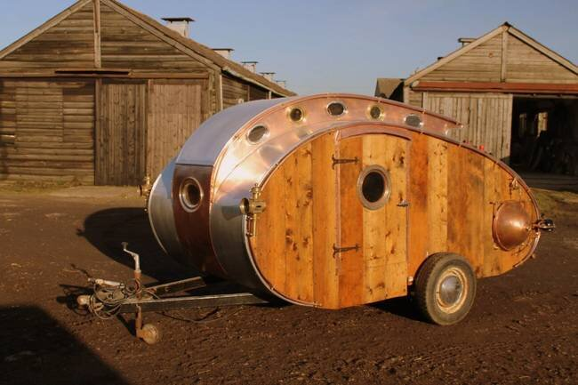 Dave Moult - Steampunk Teardrop Trailer - Exterior Front - Humble Homes
