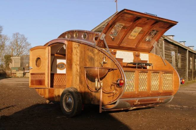 Dave Moult - Steampunk Teardrop Trailer - Exterior - Humble Homes