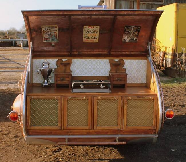 Dave Moult - Steampunk Teardrop Trailer - Rear Kitchen - Humble Homes