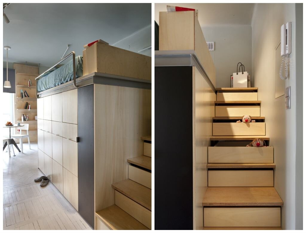 Small Apartment - Utopia Studio - Warsaw - Storage Staircase - Humble Homes