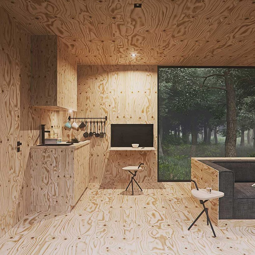 Small Forest Cabin - Tomek Michalski - Poland - Kitchenette - Humble Homes