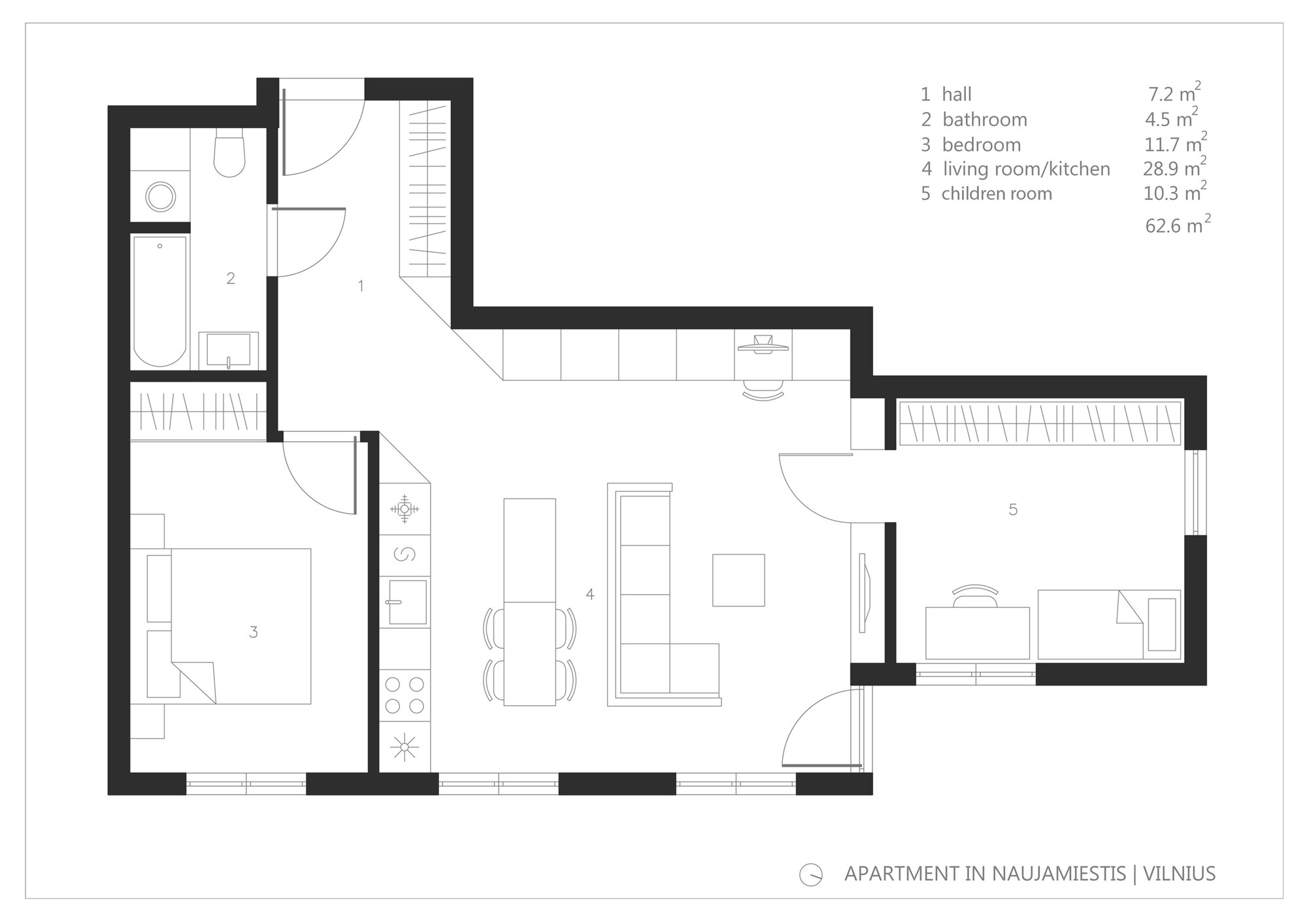 Apartment in Vilnius - Normundas Vilkas - Lithuania - Floor Plan - Humble Homes