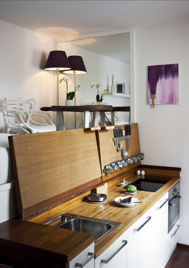 Micro-Apartment - Hidden Kitchen Revealed - Humble Homes