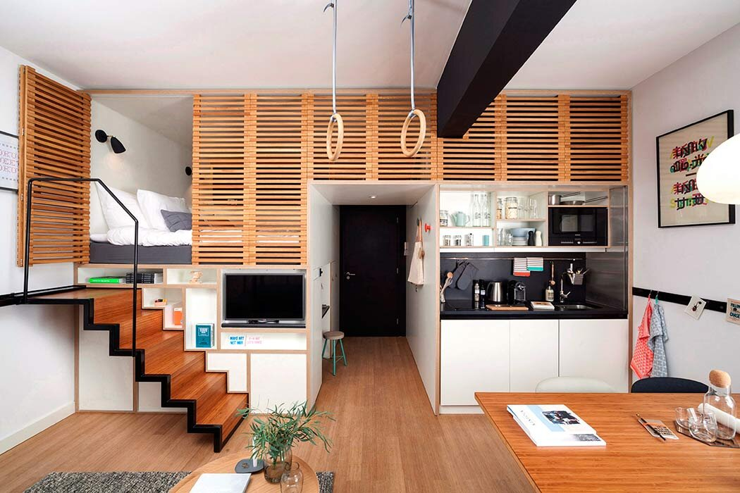 Zoku Loft - A Stylish Micro-Apartment with a Pull-Out Staircase