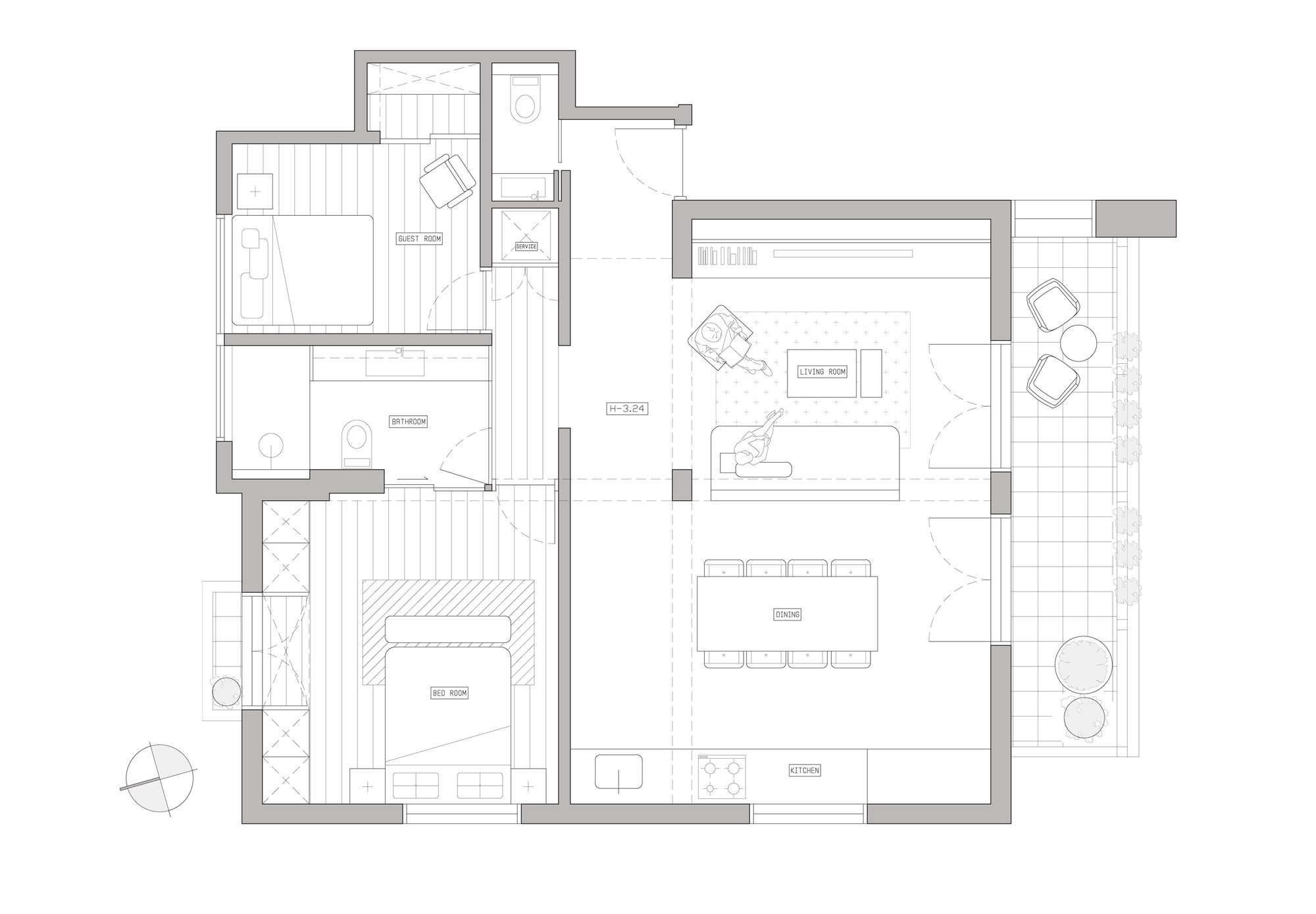 Bauhaus Apartment Redesign - Small Apartment - Studio Raanan Stern Architect - Tel Aviv - Floor Plan - Humble Homes