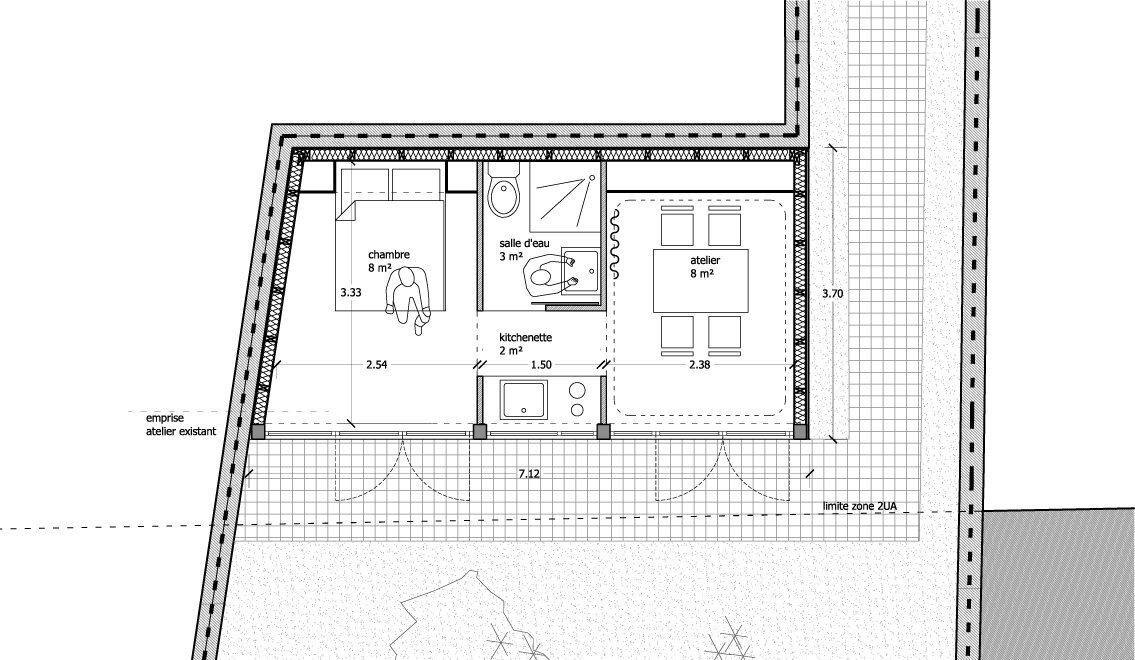 Simplement a small garden studio guest house in france for Studio guest house plans