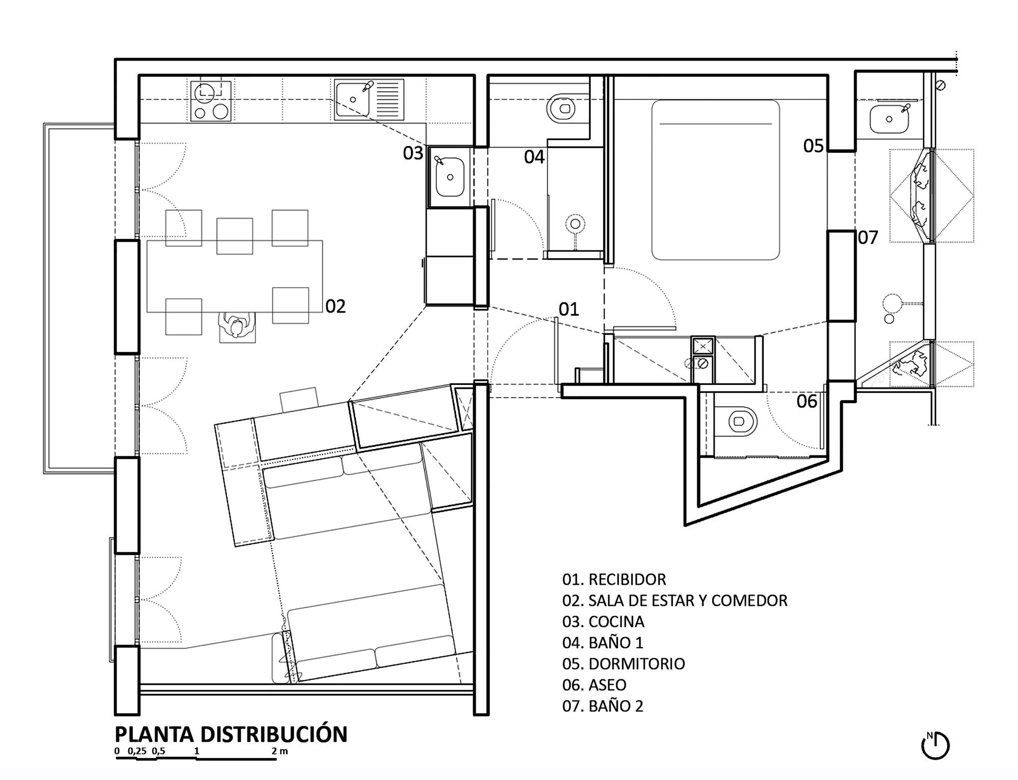 Apartment Pujades11 - Small Apartment - Miel Arquitectos + Studio P10 - Spain - Floor Plan - Humble Homes