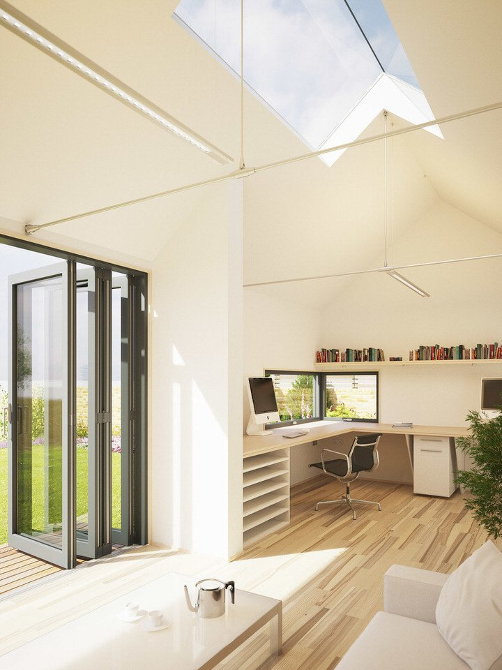 Pod space 39 s eco friendly contemporary prefab pods in england for Garden studio interiors