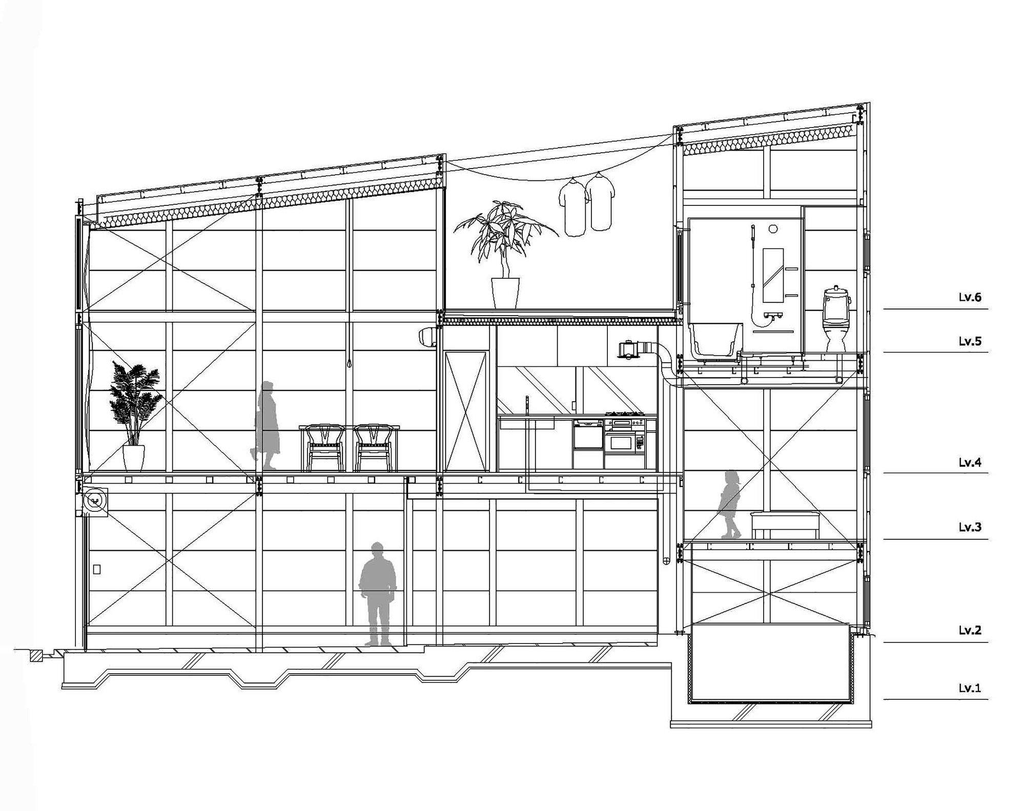 Kakko House - Small House - YYAA - Japan - Section - Humble Homes
