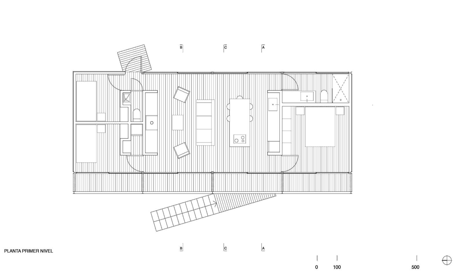 Remote house a small prefab home set on the coast of chile for Modern modular home floor plans